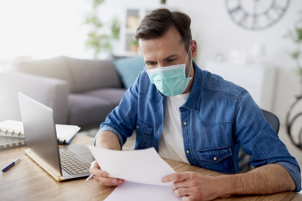 HOA Board Member with Mask to Prevent COVID-19